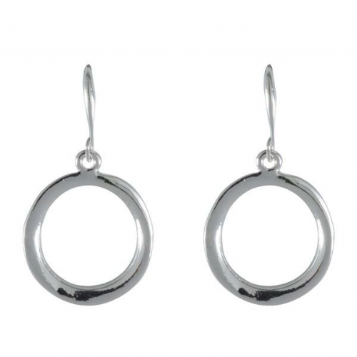 Bisoux Rodium Plated Circle Feature Silver Earrings with Fish Hook